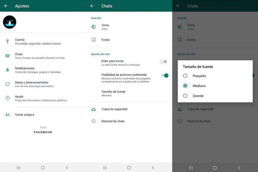 Cómo cambiar el tamaño de la letra en WhatsApp