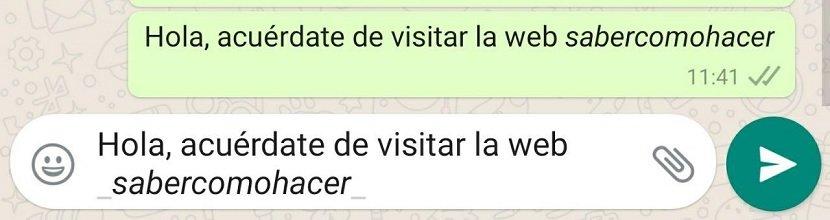 Cómo usar cursivas en WhatsApp