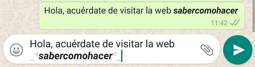 Cómo usar negritas y cursivas WhatsApp