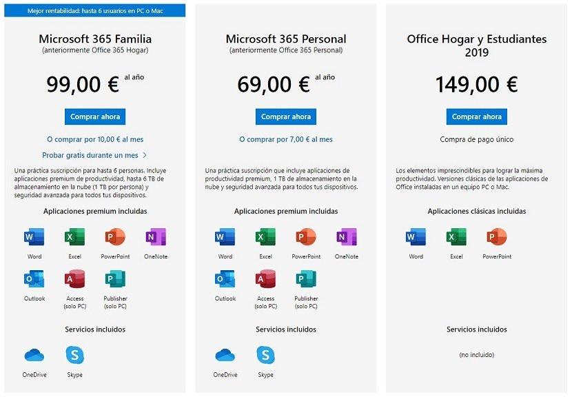 Precios Office 365