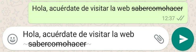 Cómo usar la opción tachado en WhatsApp