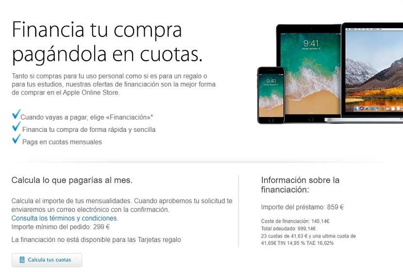 Financia tu compra con Apple